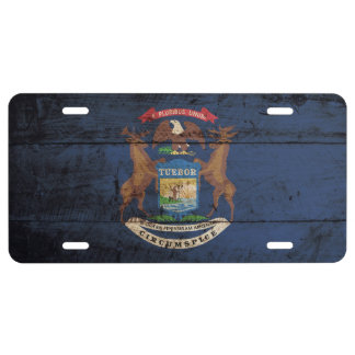 Michigan State Flag on Old Wood Grain License Plate