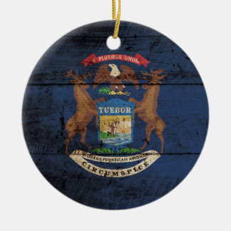 Michigan State Flag on Old Wood Grain Christmas Tree Ornaments