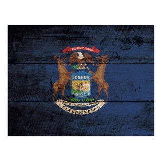 Michigan State Flag on Old Wood Grain Postcard