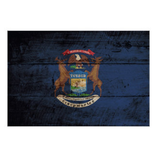 Michigan State Flag on Old Wood Grain Poster