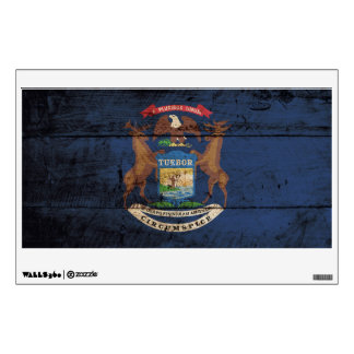 Michigan State Flag on Old Wood Grain Wall Sticker