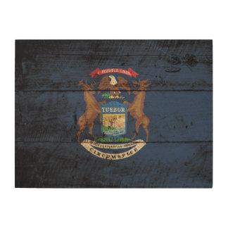 Michigan State Flag on Old Wood Grain Wood Print