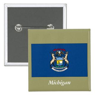 Michigan State Flag Pinback Button