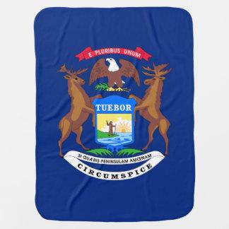 Michigan State Flag Receiving Blanket
