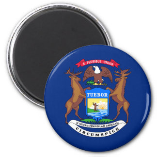 Michigan state flag usa united america symbol 2 inch round magnet