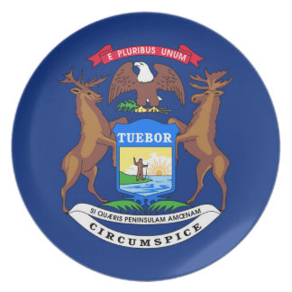 Michigan state flag usa united america symbol plate