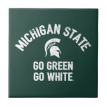 "Michigan State | Go Green Go White Ceramic Tile<br><div class=""desc"">Check out these new Michigan State University designs! Show off your MSU Spartan pride with these new Michigan State products. These make perfect gifts for the Spartan student, alumni, family, friend or fan in your life. All of these Zazzle products are customizable with your name, class year, or club. Go...</div>"