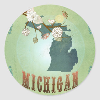 Michigan State Map – Green Classic Round Sticker