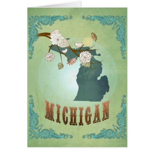 Michigan State Map – Green Greeting Card