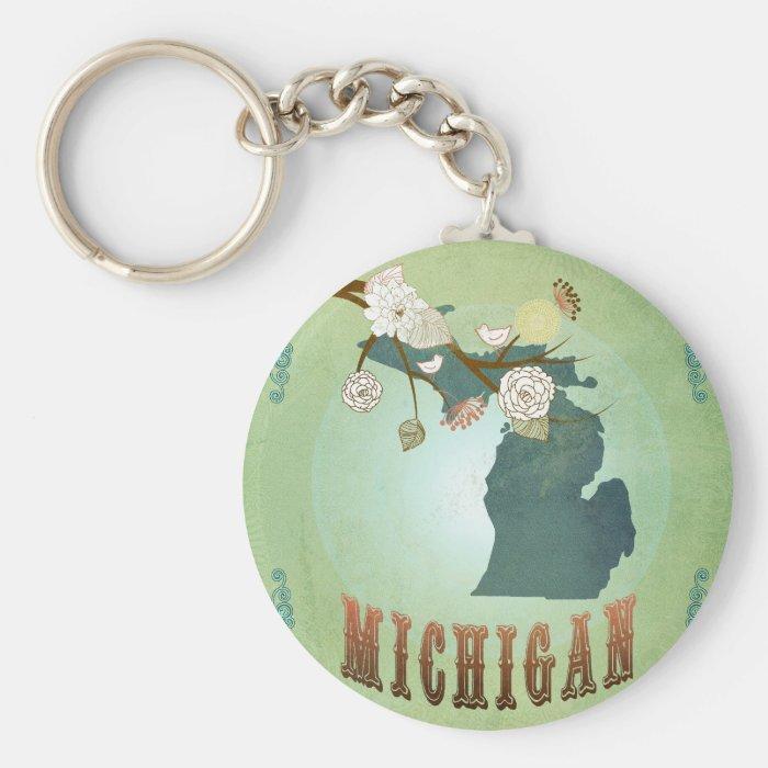 Michigan State Map – Green Keychain