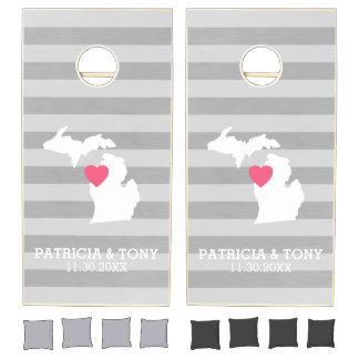 Michigan State Map with Custom Love Heart and Name Cornhole Set