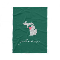 Michigan State Map with Custom Love Heart and Name Fleece Blanket