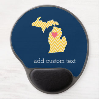 Michigan State Map with Custom Love Heart and Name Gel Mouse Pad