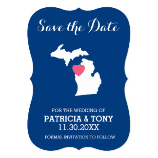 Michigan State Map with Custom Love Heart and Name 5x7 Paper Invitation Card