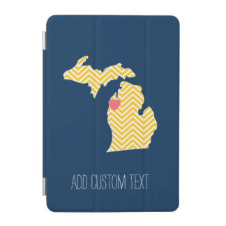Michigan State Map with Custom Love Heart and Name iPad Mini Cover