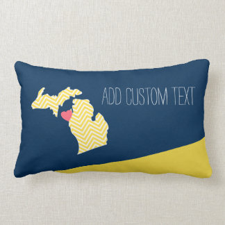Michigan State Map with Custom Love Heart and Name Lumbar Pillow