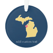Michigan State Map with Custom Love Heart and Name Ornament