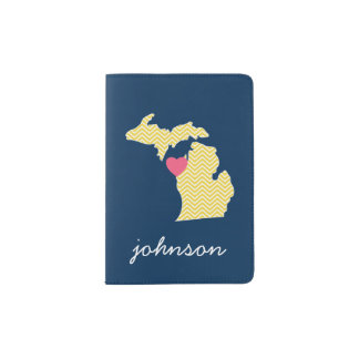 Michigan State Map with Custom Love Heart and Name Passport Holder