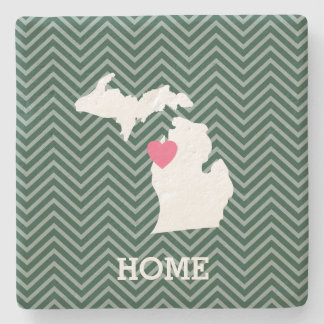 Michigan State Map with Custom Love Heart and Name Stone Coaster