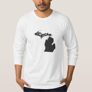 Michigan State Name Word Art Black T-Shirt
