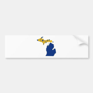 Michigan State Name Word Art Yellow Bumper Sticker