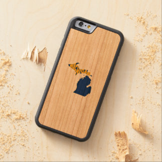Michigan State Name Word Art Yellow Carved Cherry iPhone 6 Bumper Case