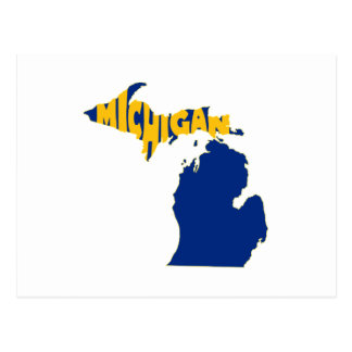 Michigan State Name Word Art Yellow Postcard