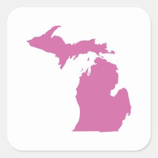 Michigan State Outline Square Sticker