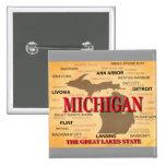 Michigan State Pride Map Silhouette 2 Inch Square Button