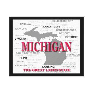 Michigan State Pride Map Silhouette Canvas Print