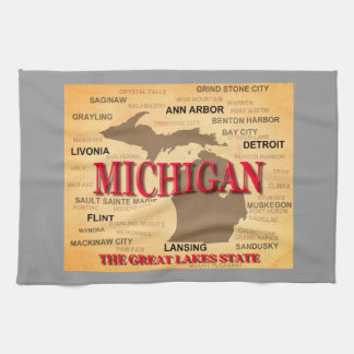 Michigan State Pride Map Silhouette Hand Towel