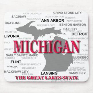 Michigan State Pride Map Silhouette Mouse Pad