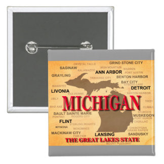 Michigan State Pride Map Silhouette Pinback Button