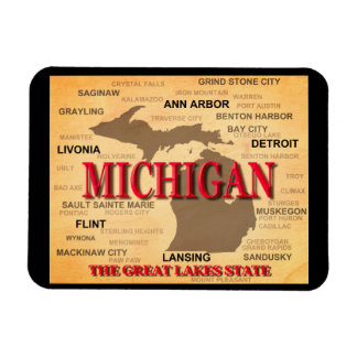 Michigan State Pride Map Silhouette Rectangle Magnets