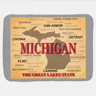 Michigan State Pride Map Silhouette Stroller Blanket