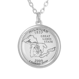 Michigan State Quarter Silver Plated Necklace