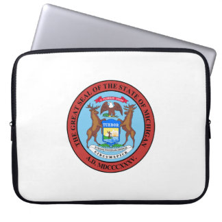 Michigan state seal america republic symbol flag computer sleeve