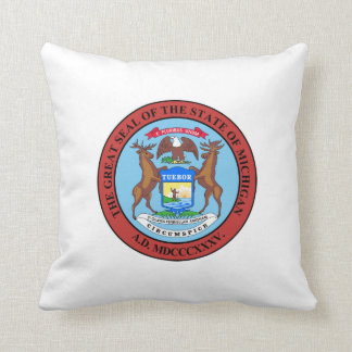 Michigan state seal america republic symbol flag throw pillow