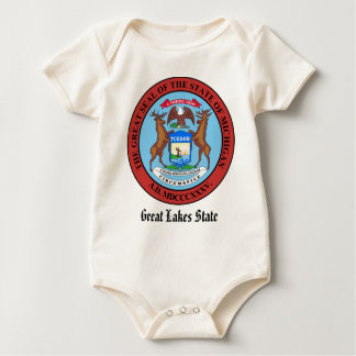Michigan State Seal and Motto Baby Bodysuit