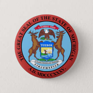 Michigan State Seal and Motto Pinback Button