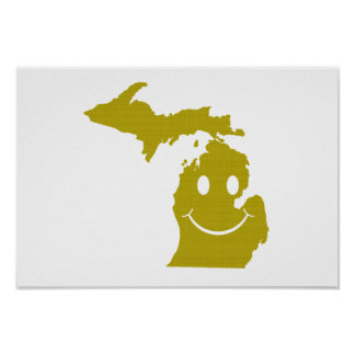 Michigan State Shape Smiley Face Poster