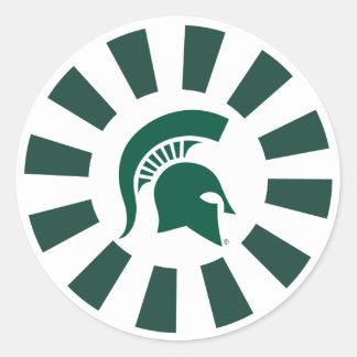 Michigan State Spartan Helmet Logo Classic Round Sticker
