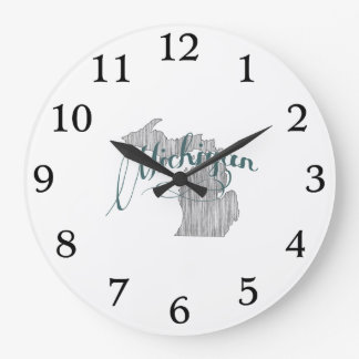 Michigan State Typography Large Clock