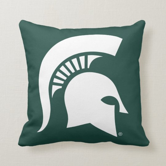 Michigan State University Spartan Helmet Logo Throw Pillow