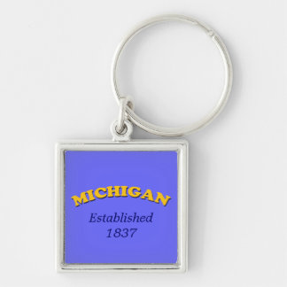 Michigan Stylized Gold Text Silver-Colored Square Keychain