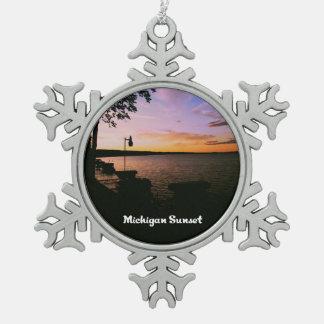 Michigan Sunset Snowflake Pewter Christmas Ornament