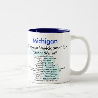 Michigan Symbols & Map Two-Tone Coffee Mug