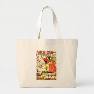 Michigan the Wolverine State Large Tote Bag