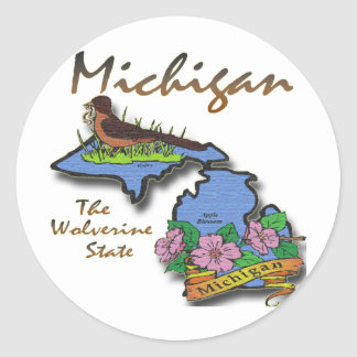 Michigan The Wolverine State Robin Apple Classic Round Sticker