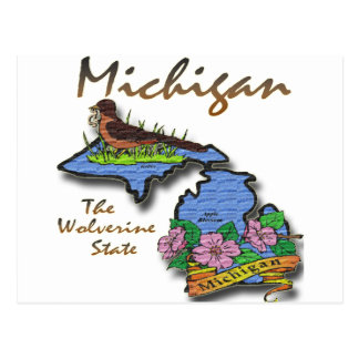 Michigan The Wolverine State Robin Apple Postcard